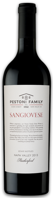Pestoni Family Estate Winery Rutherford Estate Sangiovese Bottle Preview
