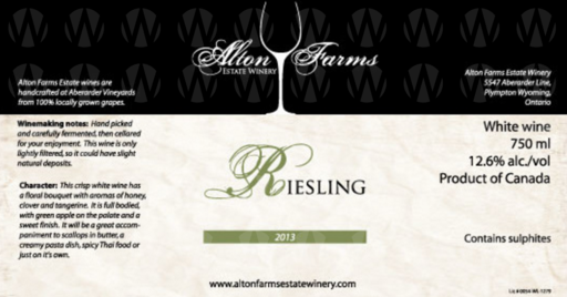 Alton Farms Estate Winery Riesling