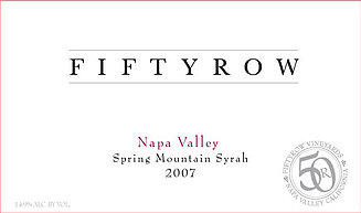 Fiftyrow Vineyards Fiftyrow Spring Mountain Syrah Bottle Preview
