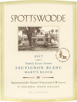 "Spottswoode Estate Vineyard & Winery Spottswoode Estate ""Mary's Block"" Sauvignon Blanc Bottle Preview"