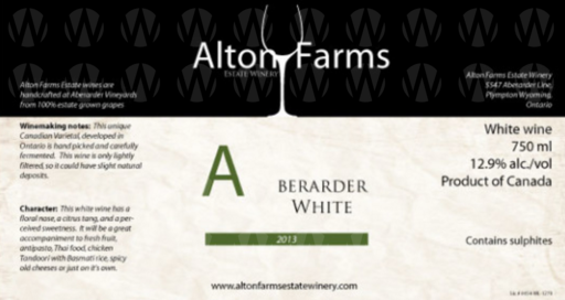 Alton Farms Estate Winery Aberarder White