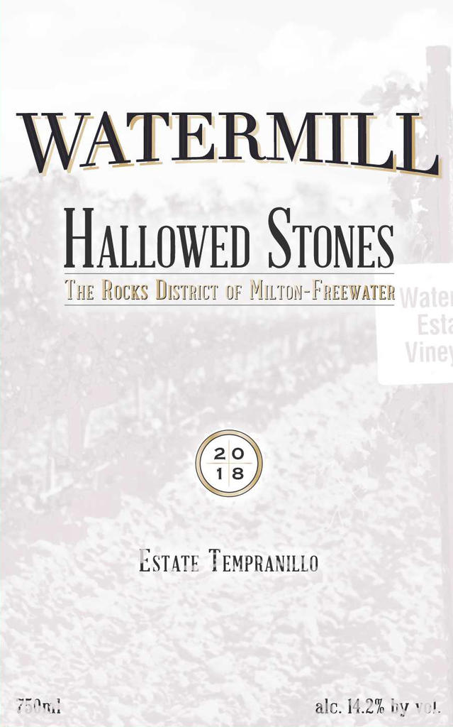 Watermill Winery Hallowed Stones Tempranillo Bottle Preview