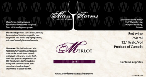 Alton Farms Estate Winery Merlot