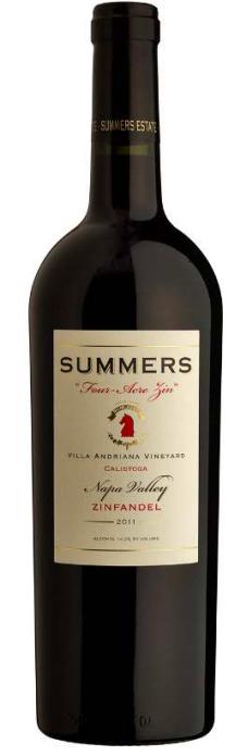 """Summers Estate Wines Calistoga """"Four-Acre"""" Estate Zinfandel Bottle Preview"""