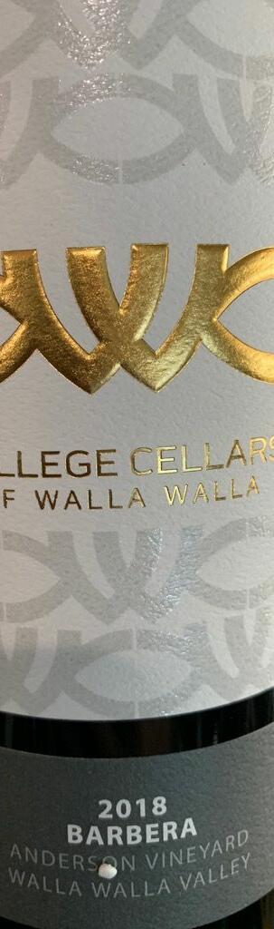 College Cellars of Walla Walla Barbera Bottle Preview