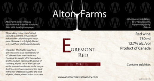 Alton Farms Estate Winery Egremont Red