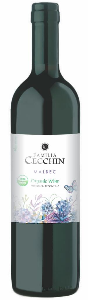 Natural Wine, non added sulphites Malbec Familia Cecchin Bottle