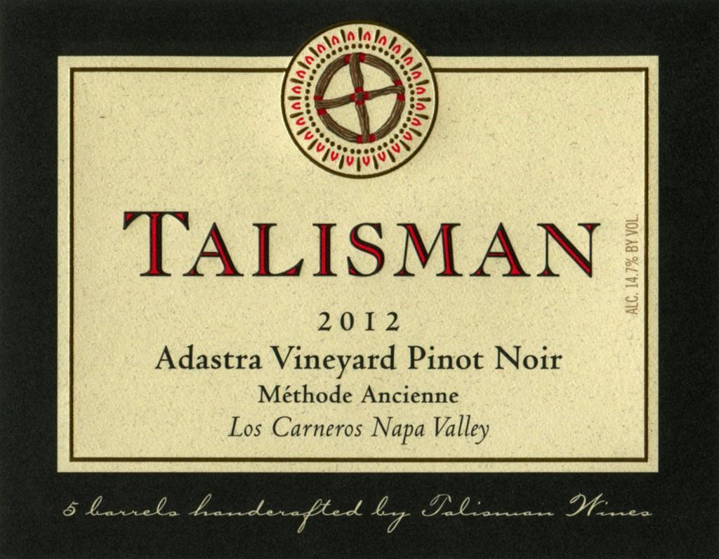 Talisman Wine Adastra Vineyard MA Pinot Noir Bottle Preview
